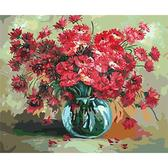 Красные цветы в стеклянной вазе, 40х50см
