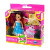 Набор с куклой 11см С днем рожденья!. Ася, брюнетка в голубом платье от Ася