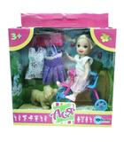Набор с куклой 11см Велопрогулка. Ася, блондинка в розовом платье от Ася