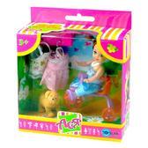 Набор с куклой 11см Велопрогулка. Ася, брюнетка в голубом платье от Ася