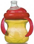 Поильник с ручками  No Spill силиконовый Супер Носик-непроливайка, с крышкой (240ml), желтый с красным