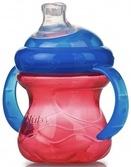 Поильник с ручками  No Spill силиконовый Супер Носик-непроливайка, с крышкой (240ml), красный с синим
