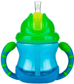 Поильник с трубочкой-непроливайкой Встроенный клапан (270ml) 12+, голубой