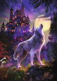 Картонные пазлы - светится Волк и луна