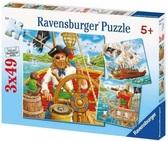 Набор картонных пазлов - 3х49 Приключения пиратов