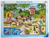 Картонные пазлы в рамке Домашние животные 47 элементов