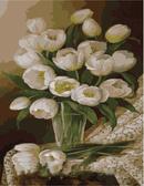 Белые тюльпаны, 40х50см