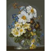 Цветы в стеклянной вазе, 40х50см
