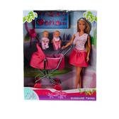 Штеффи в платье и близнецы в коляске,набор кукол,  Steffi & Evi Love, кукла в платье от Steffi & Evi Love(Штеффи и Эви Лав)