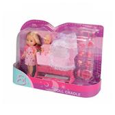 Эви с малышом в светло-розовой колыбельке, кукла, Steffi & Evi Love, платье в горох и светло-розовая колыбель от Steffi & Evi Love(Штеффи и Эви Лав)