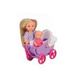 Эви с малышом в штанишках в фиолетовой коляске, кукла, Steffi & Evi Love, в штанах и с фиолетовой коляской от Steffi & Evi Love(Штеффи и Эви Лав)