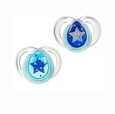 Ортодонтические пустышки Ночные синие, 6-18 месяцев, (2 штуки), Tommee Tippee., синяя и голубая от Tommee Tippee(Томми Типпи)