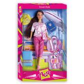 Путешествие. Набор с куклой 28 см, брюнетка в розовом костюме. Ася от Ася