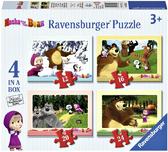 Ravensburger Набор картонных пазлов-4в1 Маша и медведь, 07028R NEW