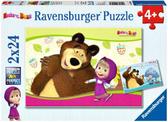 Ravensburger Набор картонных пазлов-2х12 Маша и медведь, 09046 R NEW