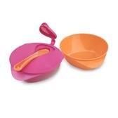 Тарелочка глубокая с крышкой и ложечкой, 2 штуки розовая и оранжевая, Tommee Tippee, розовая и оранжевая NEW от Tommee Tippee(Томми Типпи)