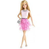 Кукла Барби Модница, Barbie, Mattel, блондинка, розовая юбка-перья, розов топ NEW