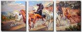 Триптих. Дикие лошади, 50х120см