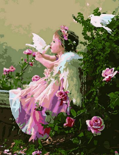 Ангелочек с голубями, 40х50см