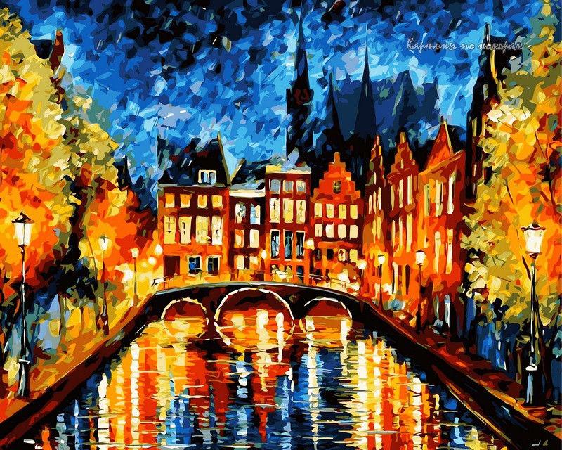 Ночь в Амстердаме, 40х50см