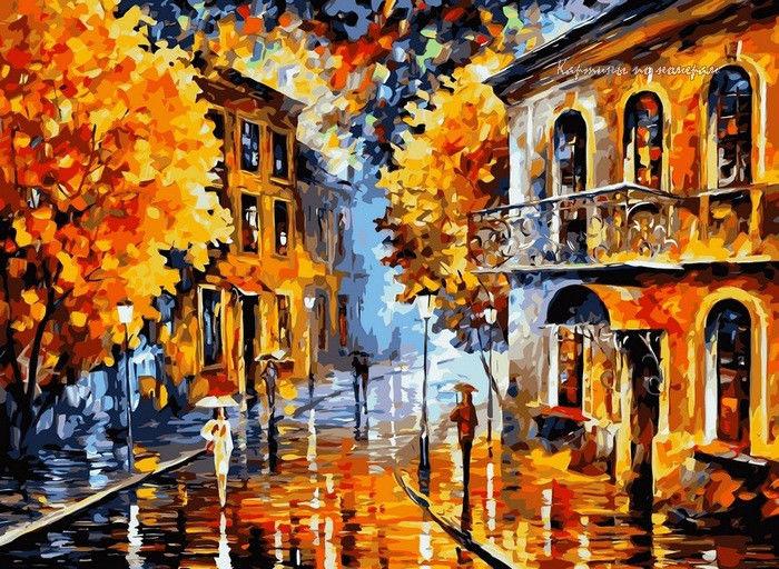 Осенний дождь, 40х50см