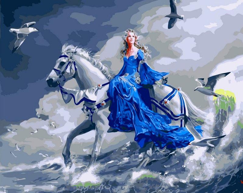 Девушка на лошади, 40х50см