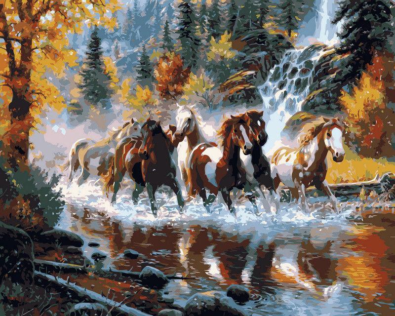 Дикие лошади, 40х50см