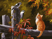 Котенок и птички на заборе, 40х50см