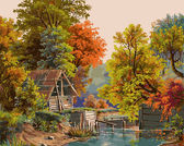 Осенний этюд с плотиной, 40х50см