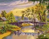 Мост над рекой, 40х50см