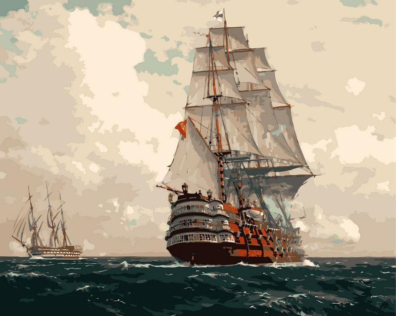 Корабль в море, 40х50см