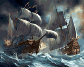 Сражение кораблей во время шторма, 40х50см