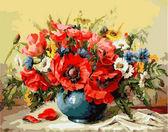 Маки с полевыми цветами, 40х50см