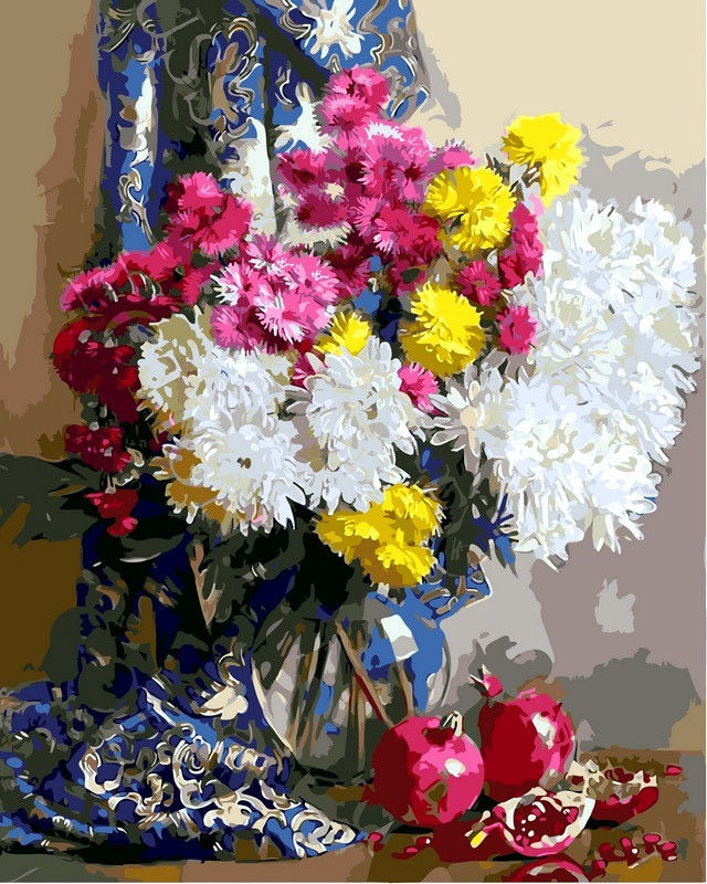 Хризантемы и гранаты, 40х50см