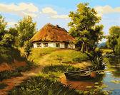 Домик возле пруда, 40х50см