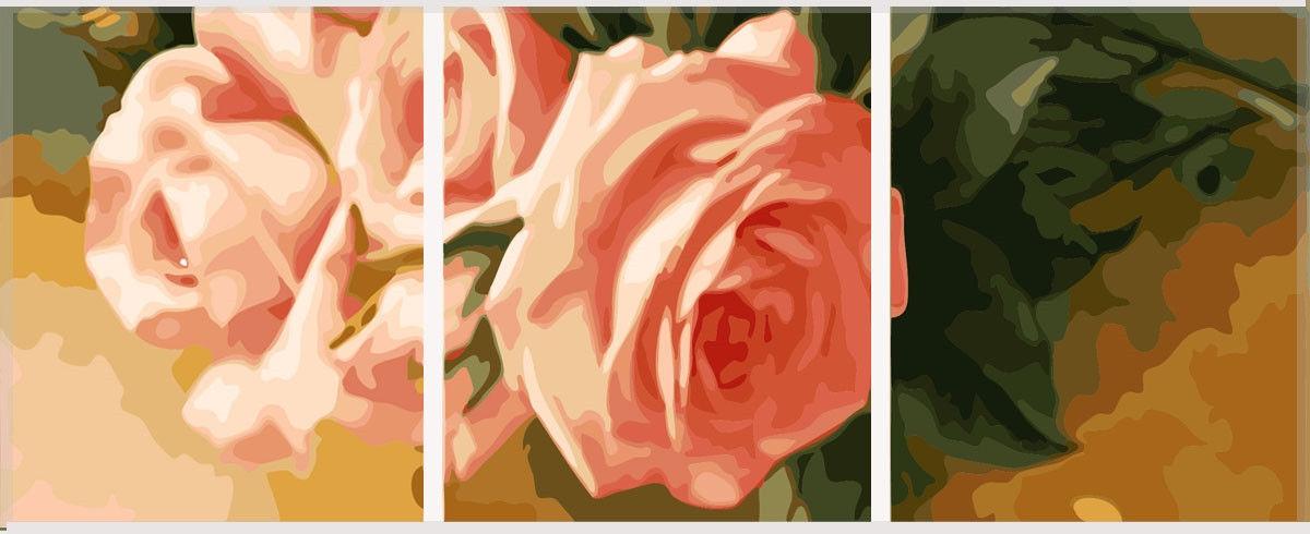 Триптих. Нежные розы (вертикальная), 50х150см