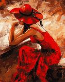 Женщина в красном, 40х50см