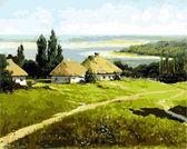Украинский пейзажс хатами, 40х50см