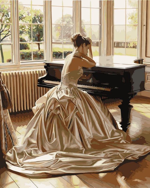 Девушка у рояля, 40х50см