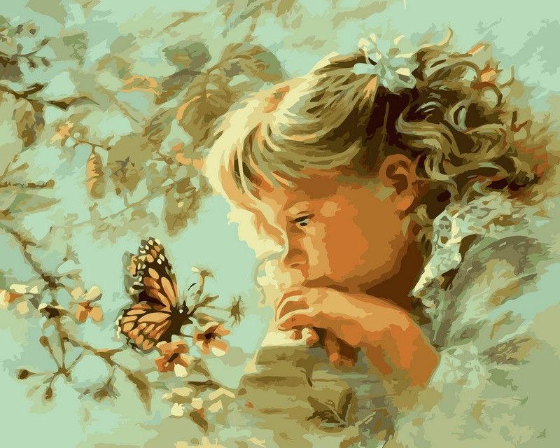 Наблюдая за бабочкой, 40х50см