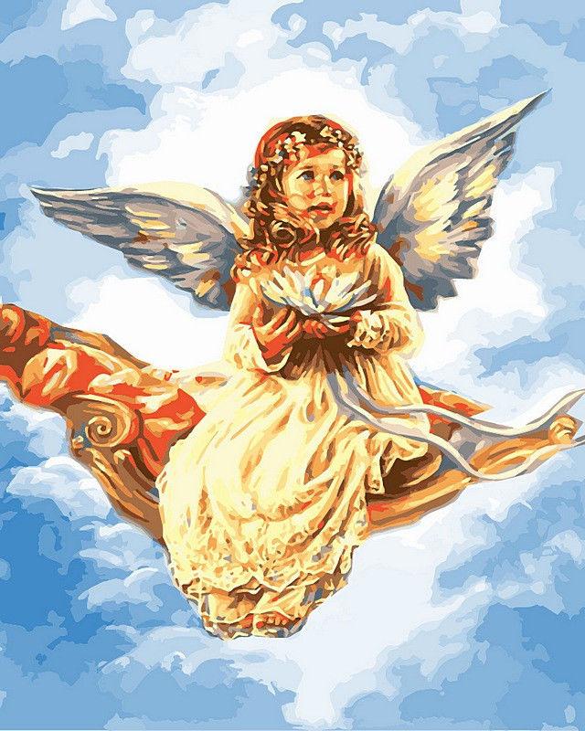 Ангелочек с цветком лотоса, 40х50см