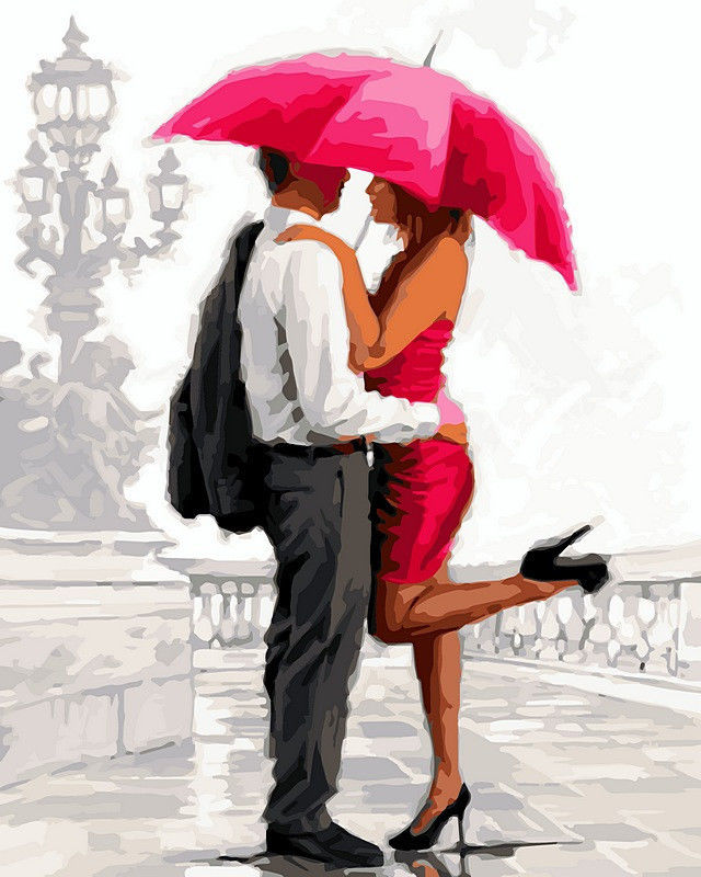 Влюбленные под алым зонтом, 40х50см