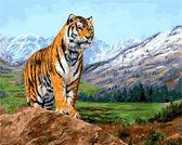 Тигр на фоне заснеженных гор, 40х50см