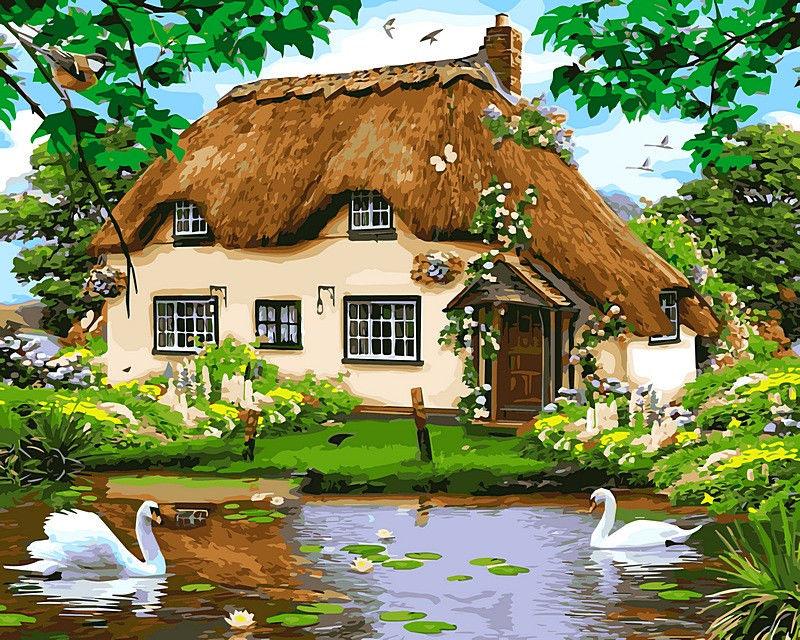 Сельский домик, 40х50см