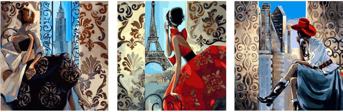 Триптих,  Нью-Йорк Париж Сидней Худ Биддл Триш, 50х150см