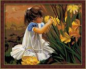 Девочка с цветами (Общение с природой), 40х50см