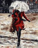Девушка в красном пальто, 40х50см