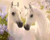 Белые лошади, 40х50см