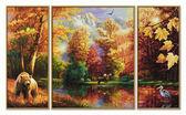 Триптих. Лесное озеро осенью, 50х80см