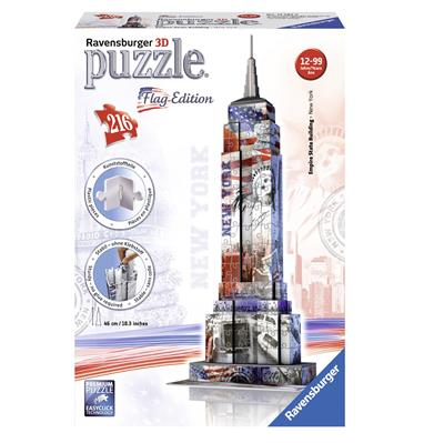 3D-пазл Небоскреб Эмпайр Стейт Билдинг в цветах флага, 216 элементов